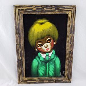 Other - Vintage Sad Clown Painting On Black Velvet